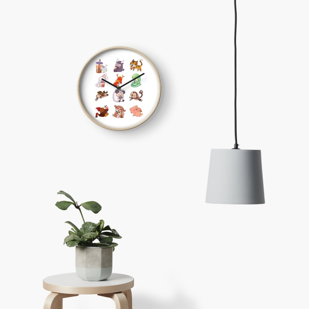 12 Chinese Zodiacs sipping Boba Clock