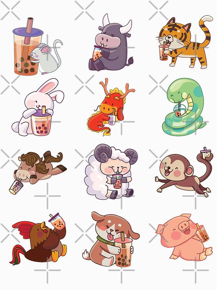 12 Chinese Zodiacs sipping Boba by BobaOrigin