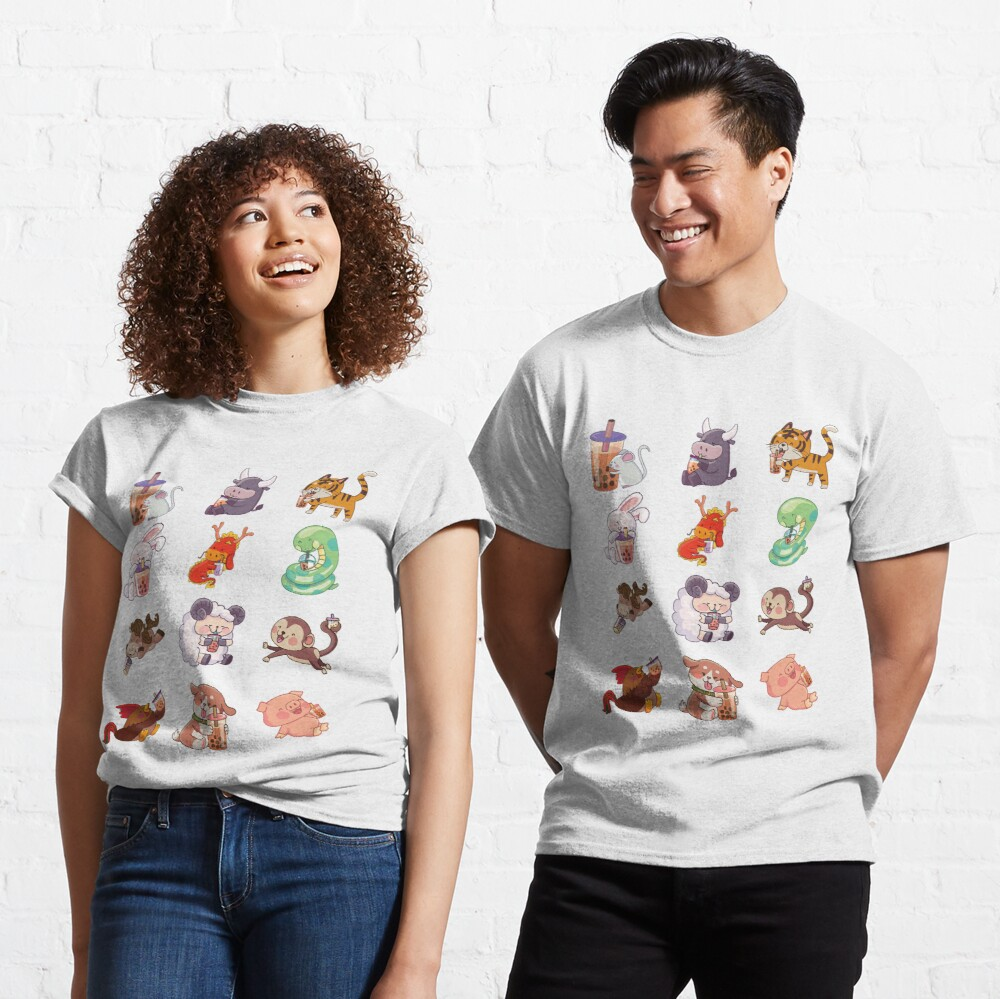 12 Chinese Zodiacs sipping Boba Classic T-Shirt