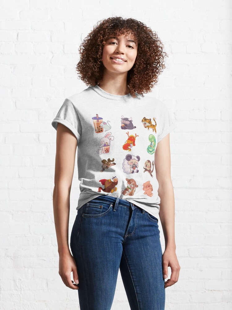 Alternate view of 12 Chinese Zodiacs sipping Boba Classic T-Shirt