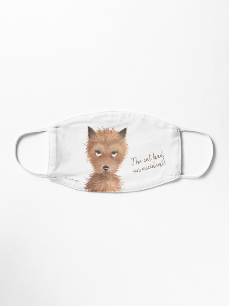 """Alternate view of Cheeky Puppy Dog Eyes - """"The cat had an accident!"""" Mask"""