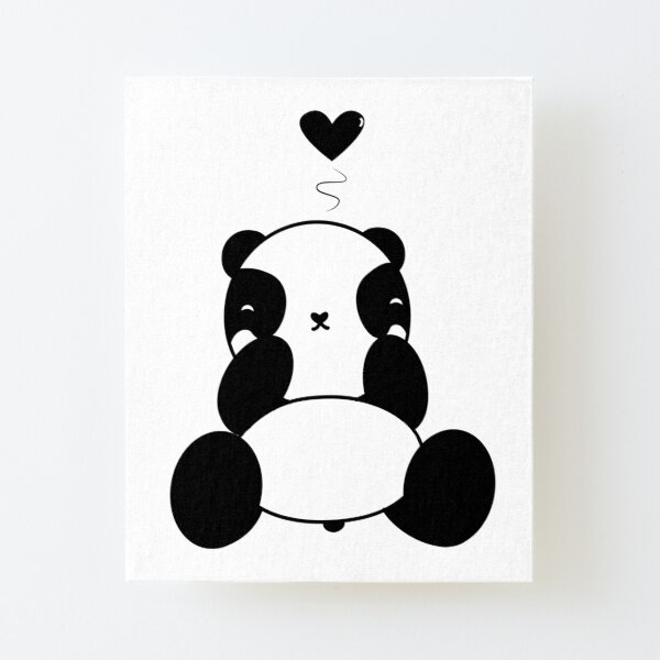 Cute Panda With Heart  Canvas Mounted Print