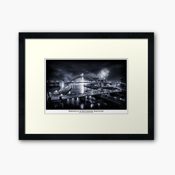 New Years Fireworks at the Newcastle & Gateshead Quayside, 2014 - Framed Art Print