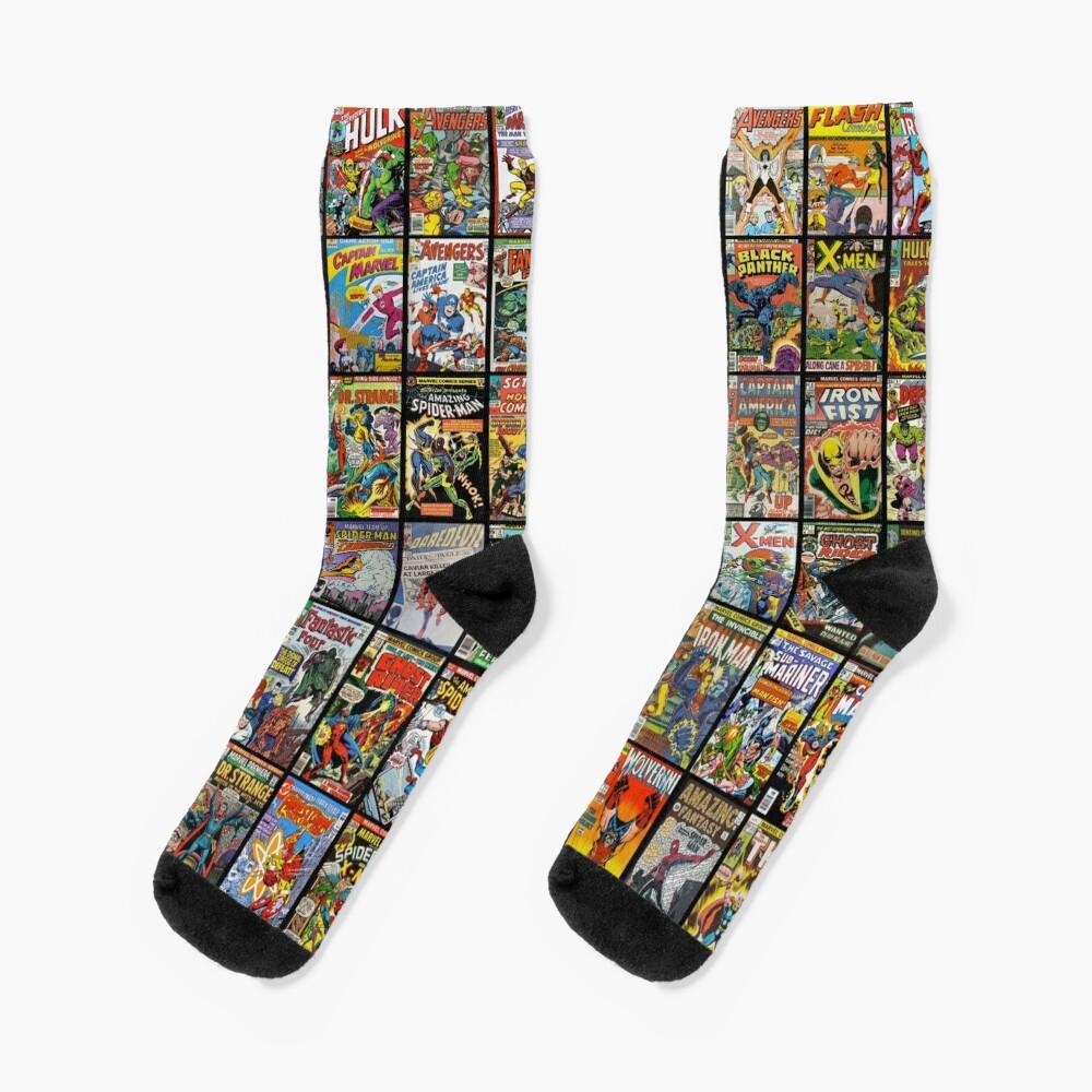 Vintage Superhero Comic Book Collection Pattern Face Mask Socks