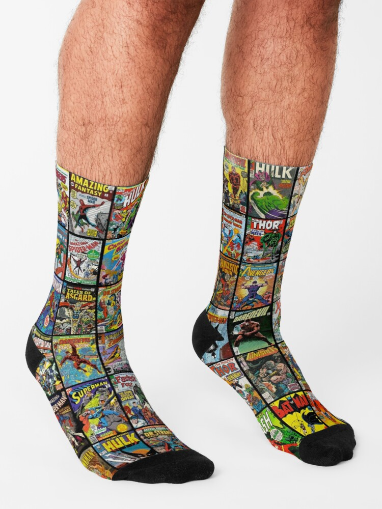 Alternate view of Vintage Superhero Comic Book Collection Pattern Face Mask Socks