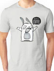 Feed me Coffee Cartoon Bunny Unisex T-Shirt