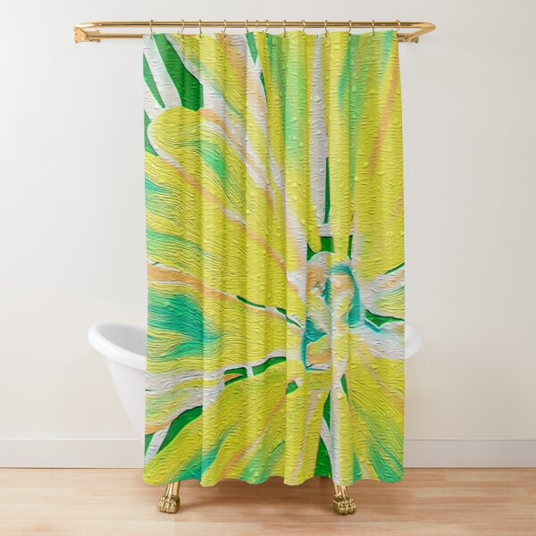 Neon Lemon Yellow and Lime Floral Shower Curtain