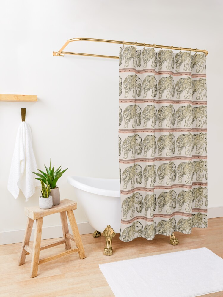 Alternate view of Indian Summer Mrs Ellie-Phant Shower Curtain