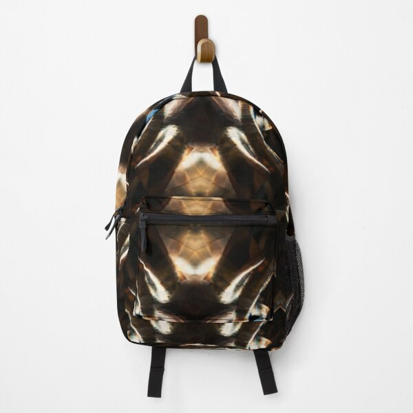 Golden Sphere Pattern, chocolate brown,blue ,gold Backpack