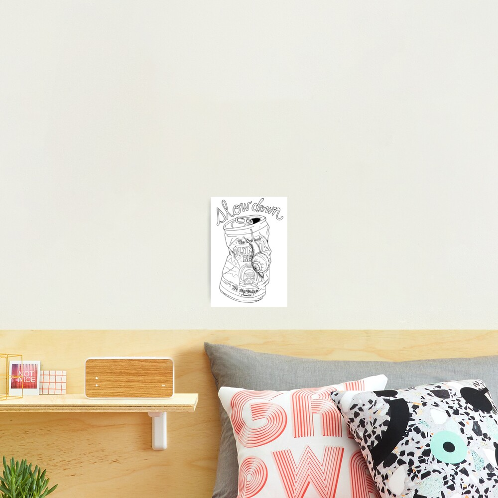slow down snail | olympia beer can Photographic Print