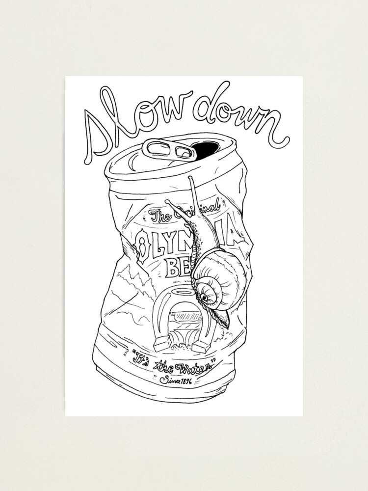Alternate view of slow down snail | olympia beer can Photographic Print