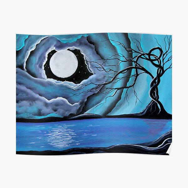 Surreal Landscape - by Angieclementine tree landscape moon Poster