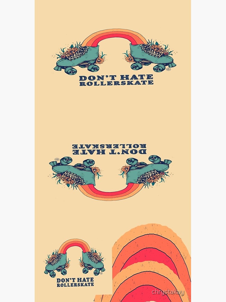 Don't Hate Rollerskate - Retro 70s Illustration - Color Variation 1 by chrystakay