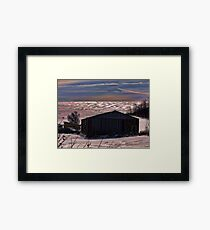 The Metal Shed in Snow Framed Print