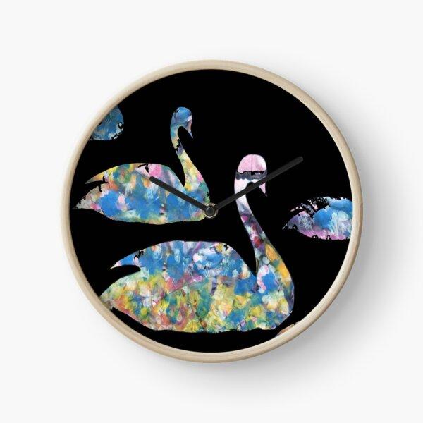 Watercolor swans Clock
