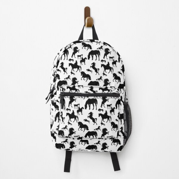 Black and White Horse Pattern Backpack
