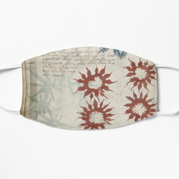 Voynich Manuscript. Illustrated codex hand-written in an unknown writing system Flat Mask
