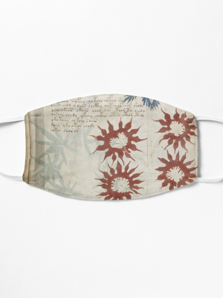 Alternate view of Voynich Manuscript. Illustrated codex hand-written in an unknown writing system Mask