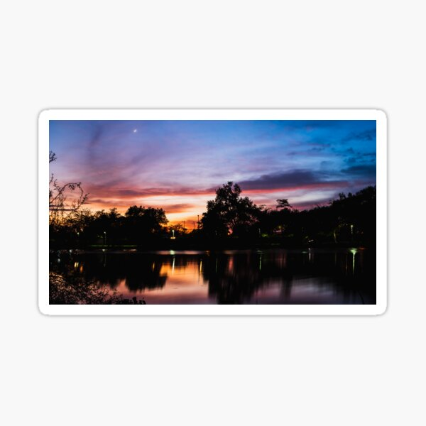 Sunset by the river Sticker
