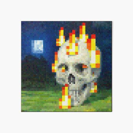 Burning Skull - Minecraft Painting Art Board Print