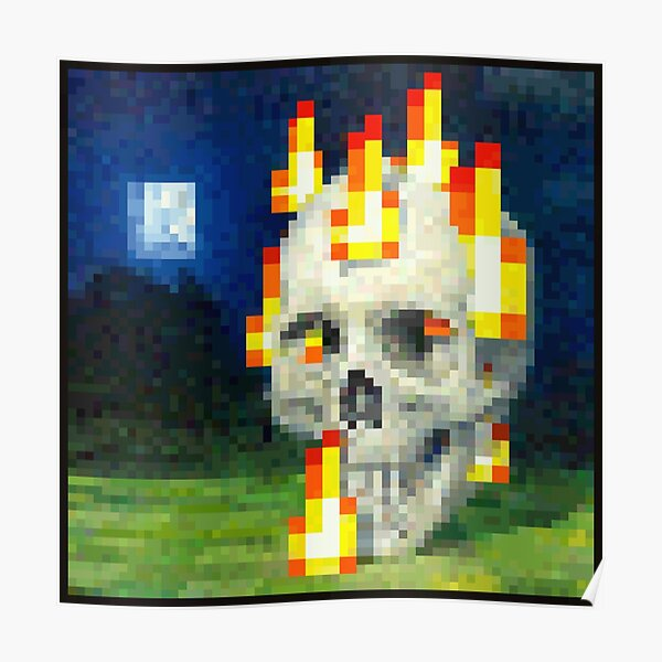 Burning Skull - Minecraft Painting Poster