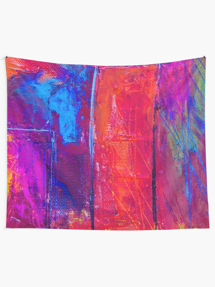 Alternate view of Psychedelic Portal Void Colorful Artwork Tapestry