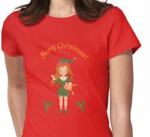 """Greeting Card """"Merry Christmas""""  Womens Fitted T-Shirt"""