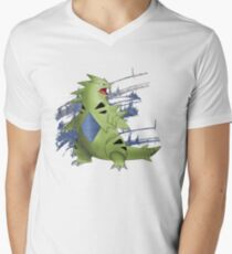 Tyranitar with Blue Rocky Scratches Men's V-Neck T-Shirt
