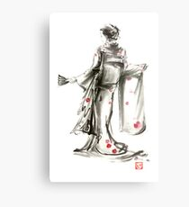 Geisha Japanese woman sumi-e original painting art print Metal Print