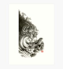 Two dragons gold fantasy dragon design sumi-e ink painting dragon art Art Print