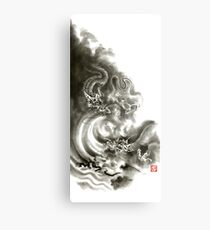 Two dragons gold fantasy dragon design sumi-e ink painting dragon art Metal Print