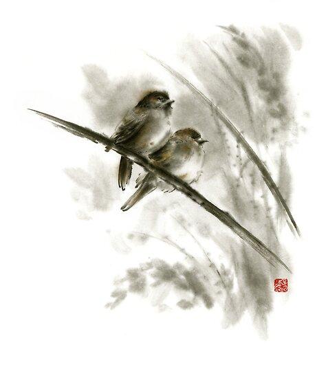 Quot Sparrows Sumi E Bird Birds On Branches Original Ink