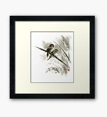 Sparrows sumi-e bird birds on branches original ink painting artwork Framed Print