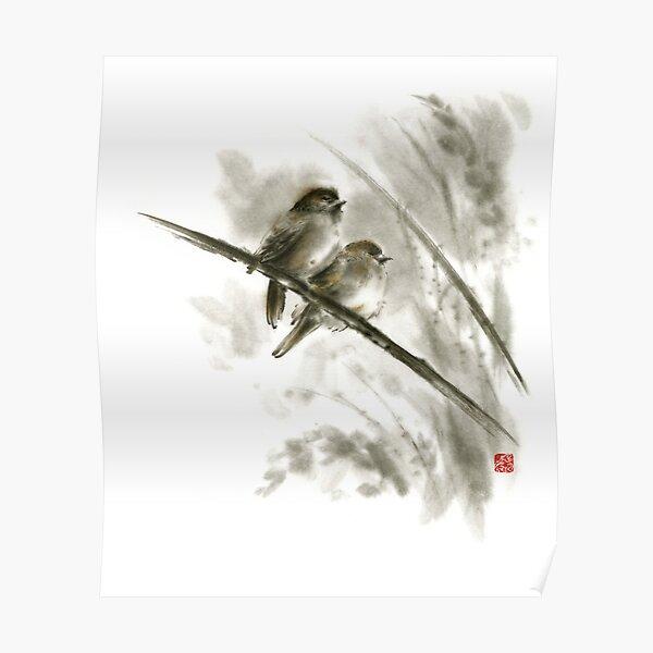 Sparrows sumi-e bird birds on branches original ink painting artwork Poster
