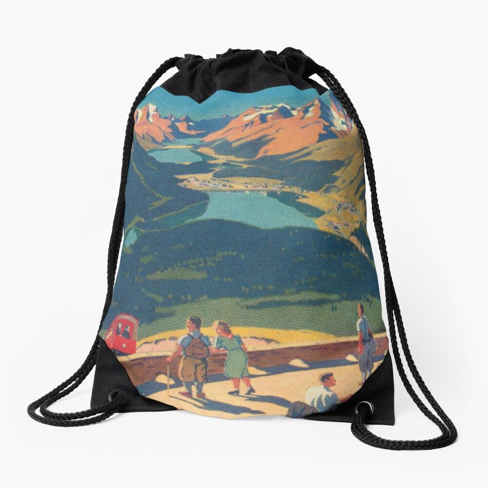 Muottas Muragl, Switzerland Vintage Travel Poster Drawstring Bag