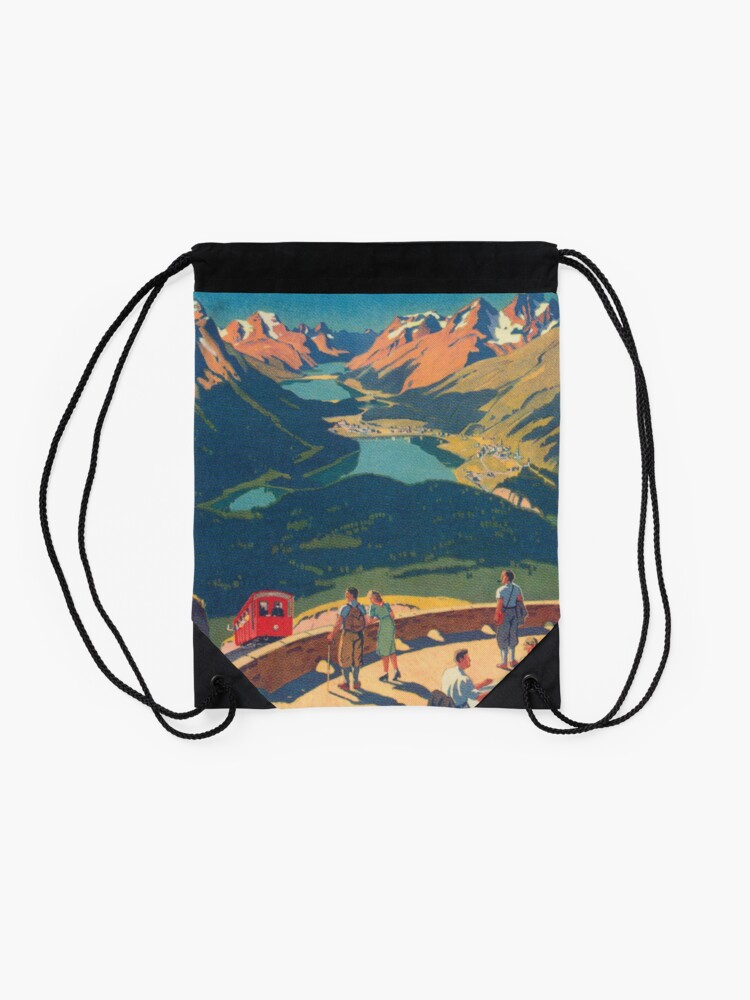 Alternate view of Muottas Muragl, Switzerland Vintage Travel Poster Drawstring Bag