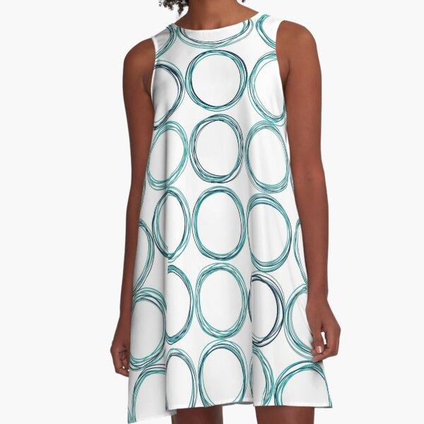 Blue circles, off-center A-Line Dress