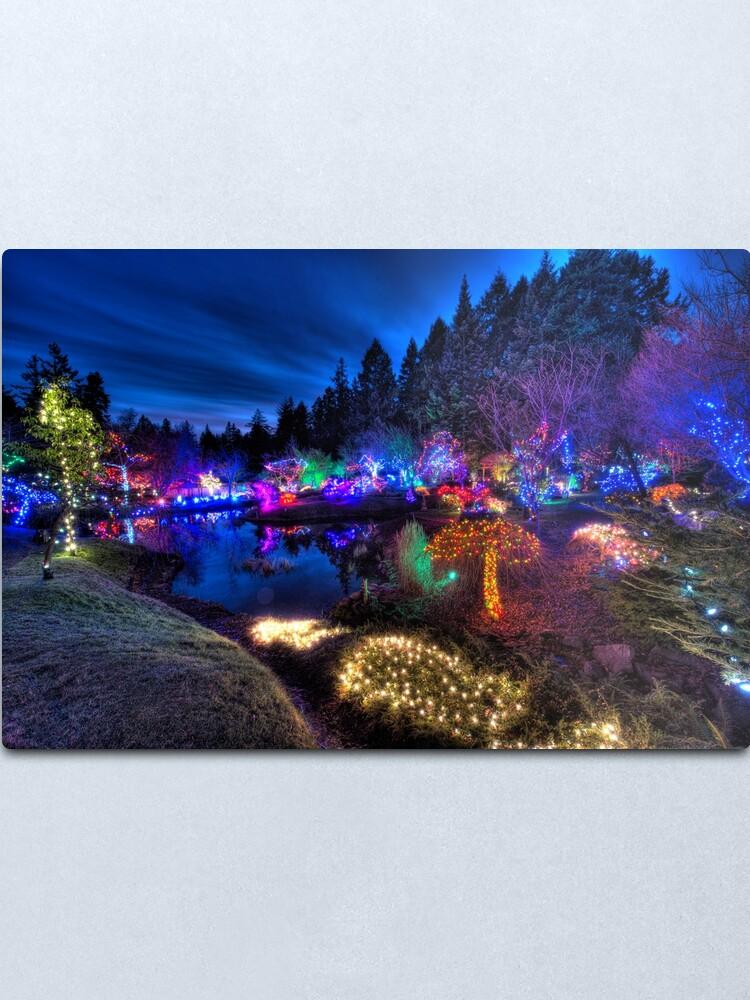 Alternate view of Japanese Garden Christmas Lights, Mayne Island, BC, 2013 Metal Print