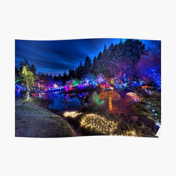 Japanese Garden Christmas Lights, Mayne Island, BC, 2013 Poster