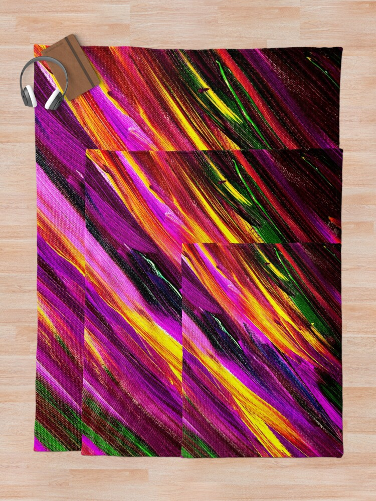 Alternate view of Funky Paint Brushstrokes Throw Blanket