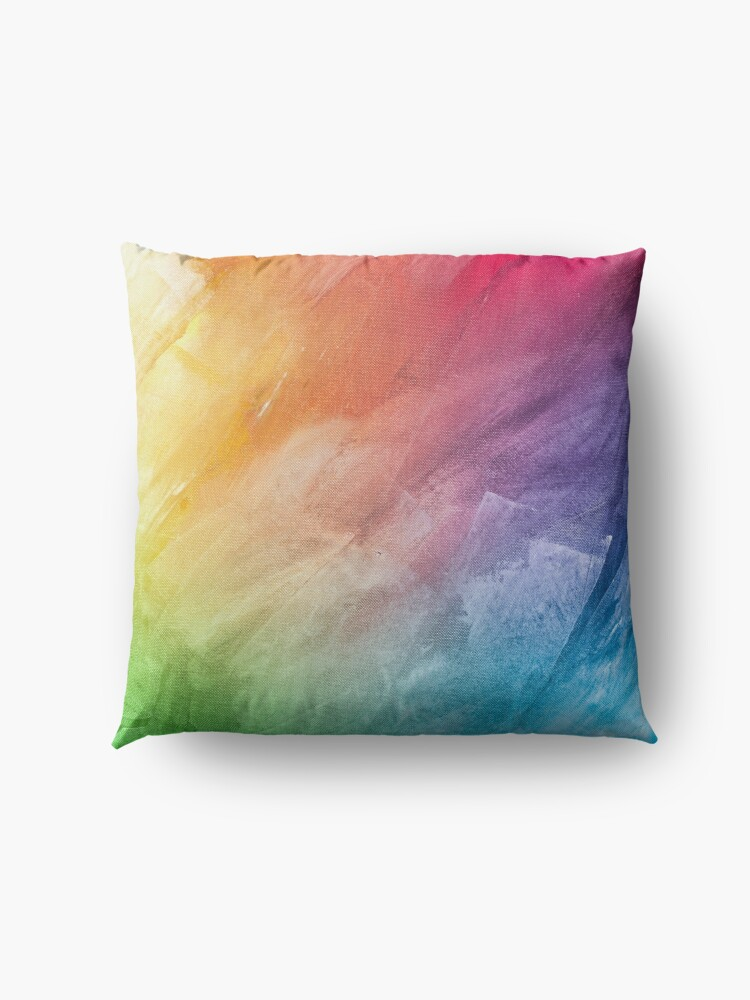 Alternate view of Colorful Psychedelic Rainbow Artwork Floor Pillow