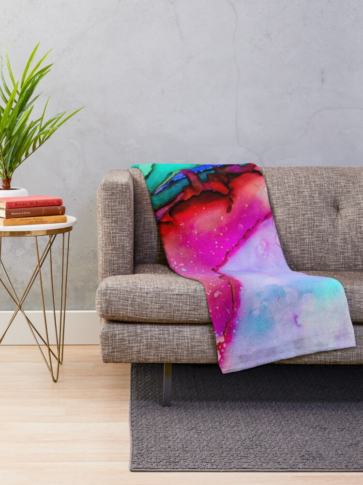 Alternate view of Psychedelic Wet Paint Throw Blanket