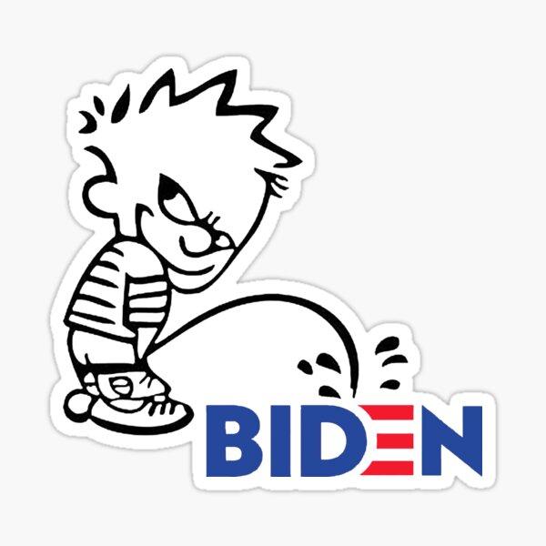 Calvin orinando en Biden 2020 Pegatina