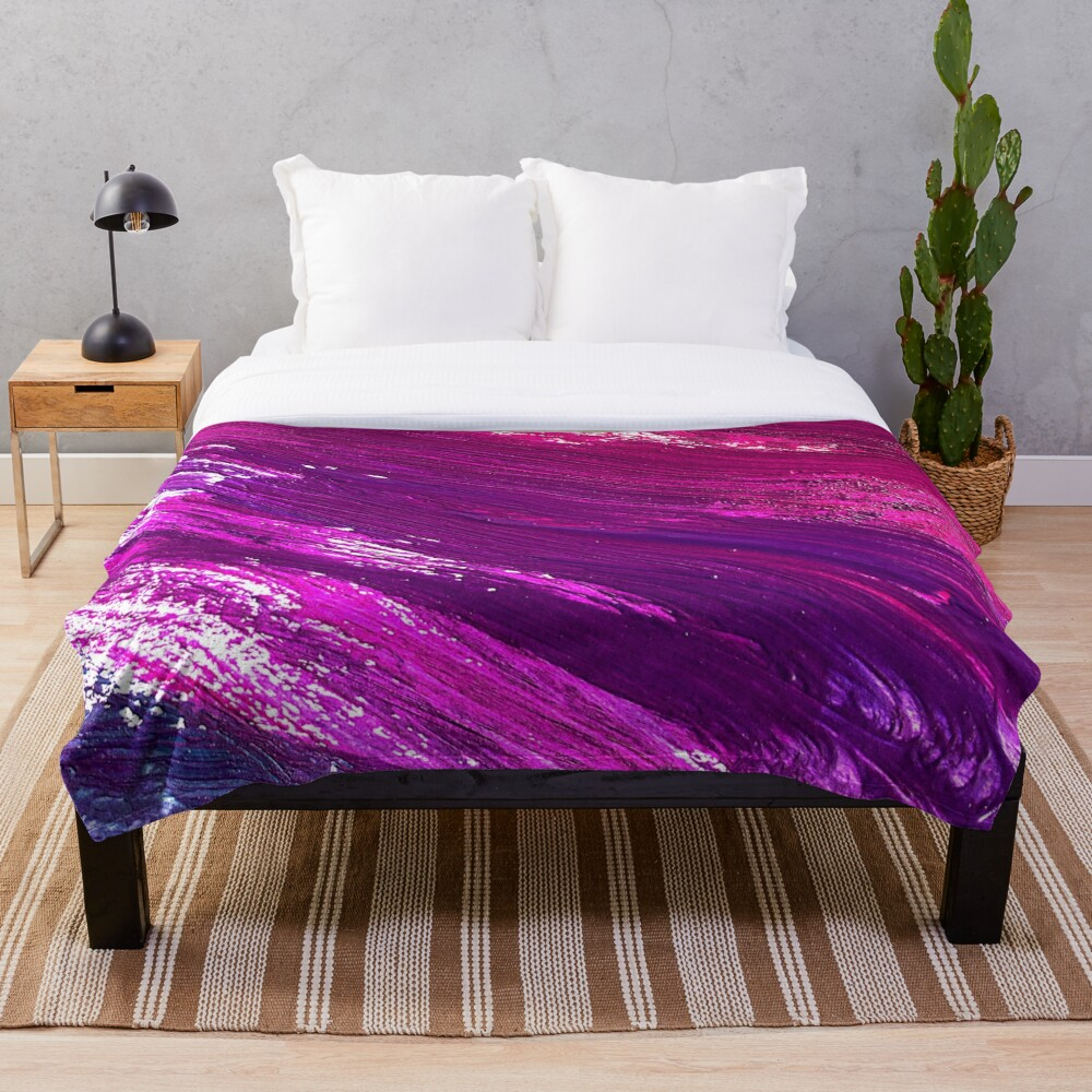 Girly Wet Paint Brushstrokes Throw Blanket