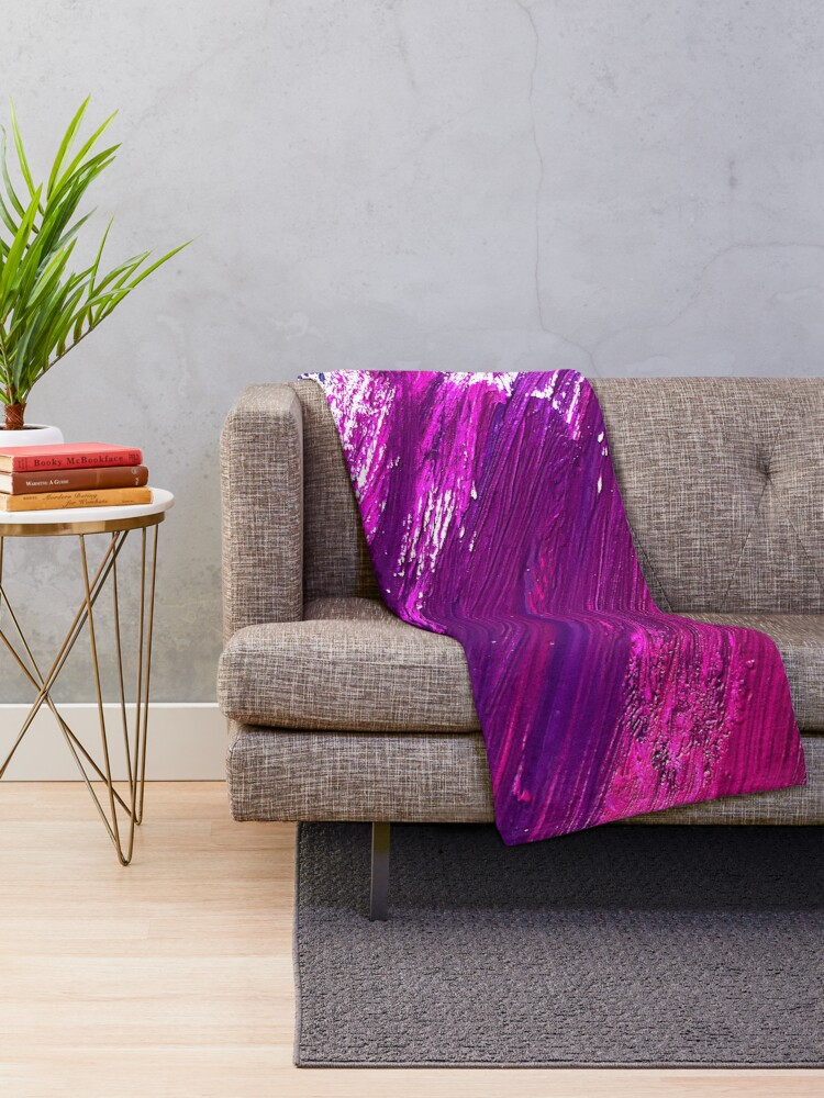 Alternate view of Girly Wet Paint Brushstrokes Throw Blanket