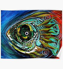 """EXCELLENT, UNIQUE ABSTRACT FISH ART from J. Vincent, """"Slight Anticipation"""" MUST SEE Poster"""