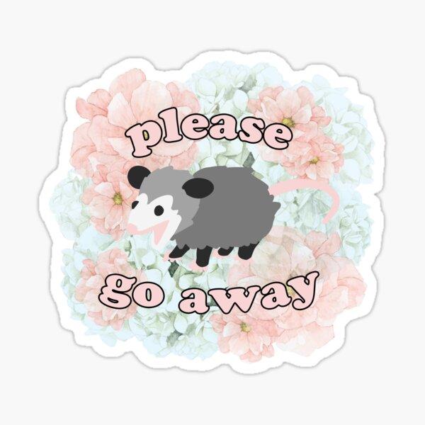 """süßes Babyopossum sagt """"bitte geh weg"""" (Blumenausgabe) Sticker"""