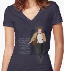 11th Doctor - Basically, Run! Quote Women's Fitted V-Neck T-Shirt