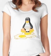 LINUX TUX PENGUIN TWINS SUNNYSIDE UP  Women's Fitted Scoop T-Shirt