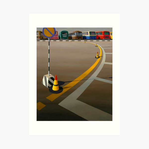 Print of original oil painting, 'Bus Terminus' (1973) by Jeffrey Smart Art Print